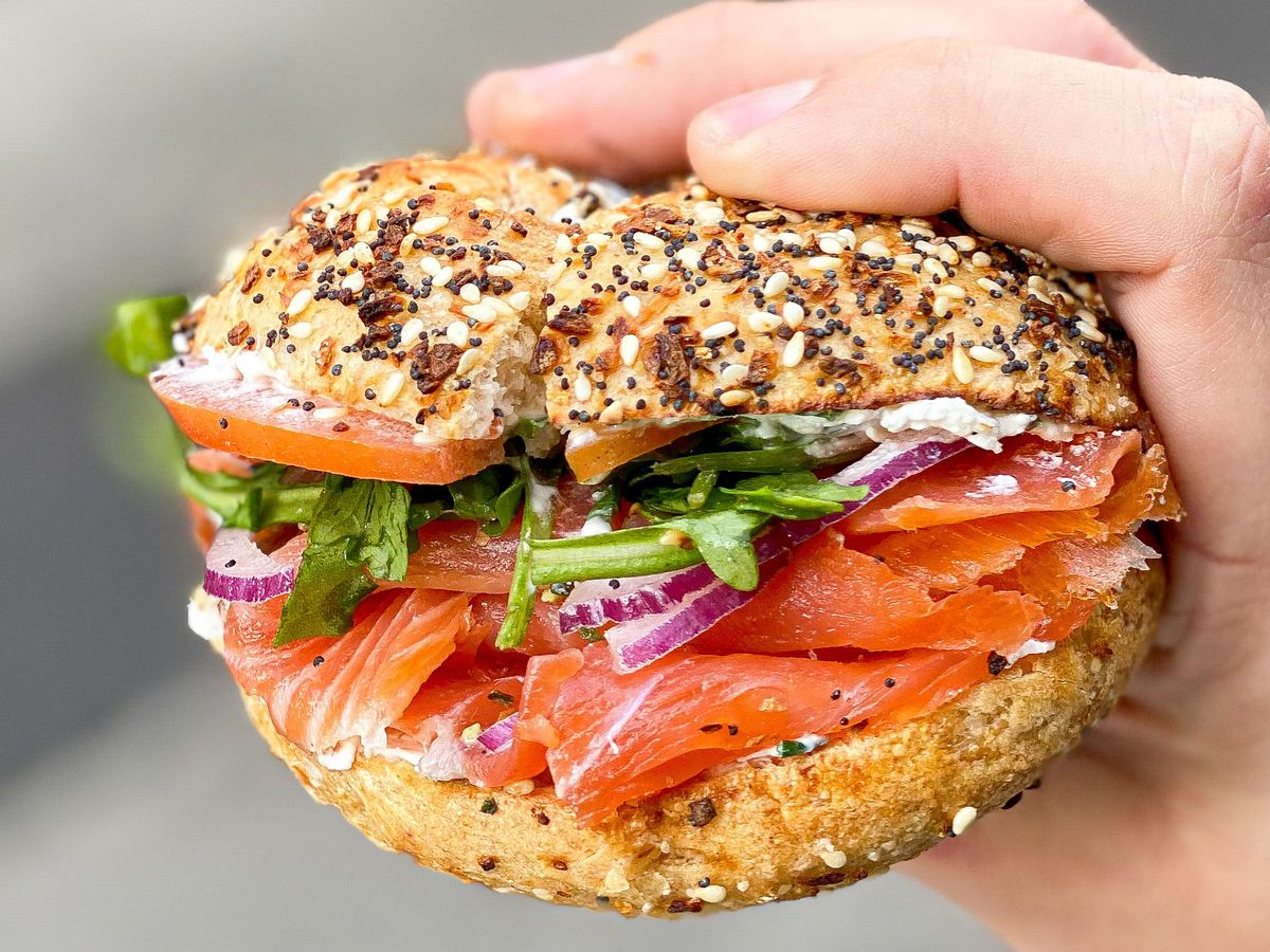 Unity Bagels bagel with lox in Downtown LA