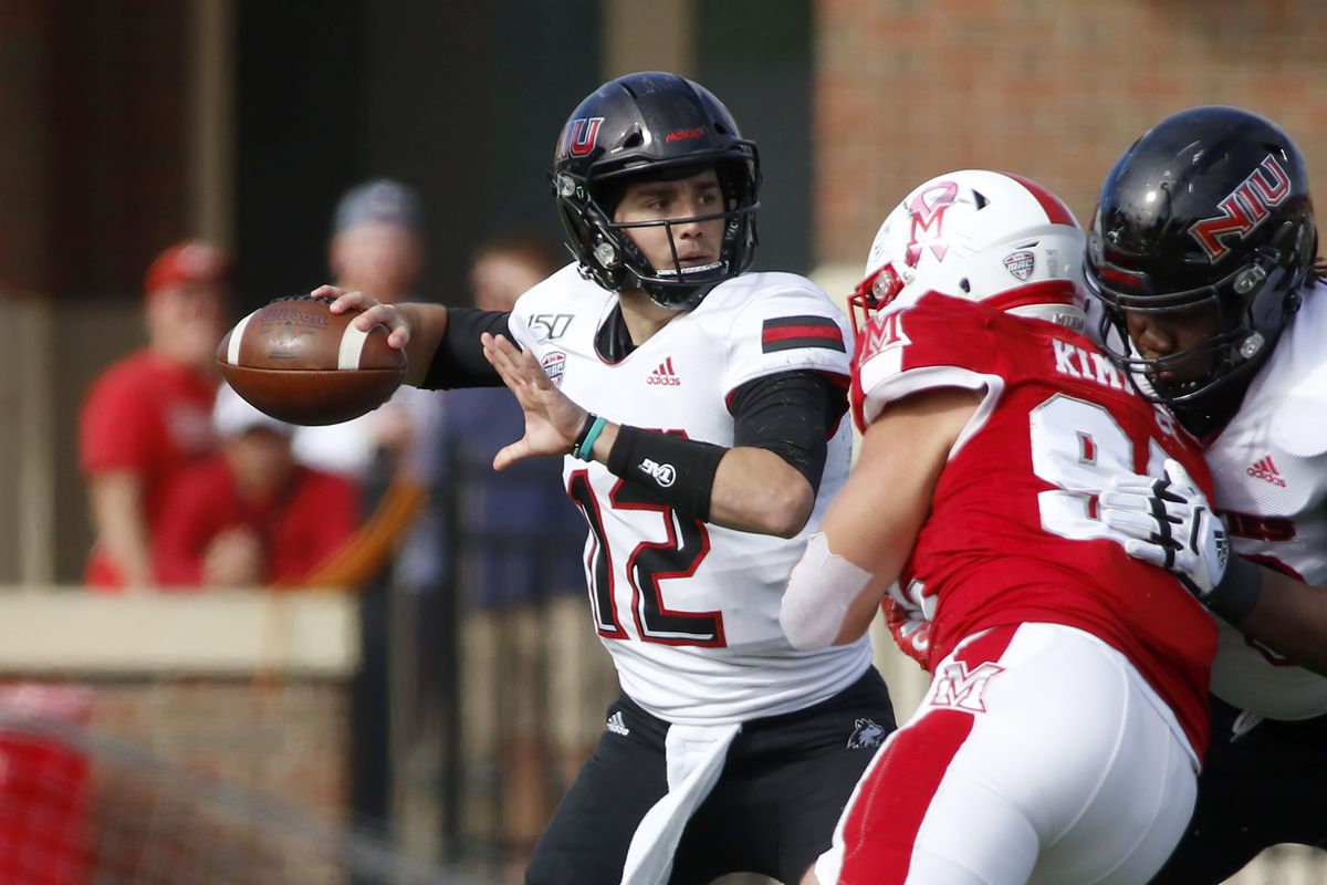 Ross Bowers of the Northern Illinois Huskies throws a pass in the game against the Miami of Ohio Redhawks at Yager Stadium on October 19, 2019 in Oxford, Ohio.