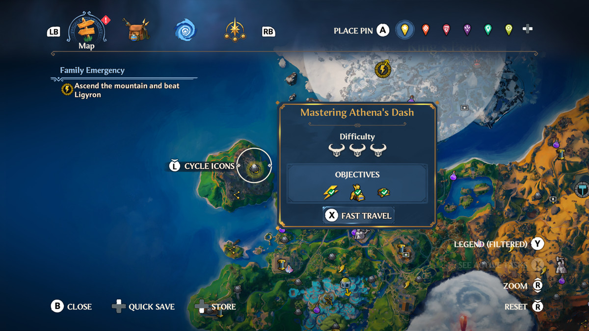 The map location of the Mastering Athena's Dash Vault of Tartaros in Immortals Fenyx Rising