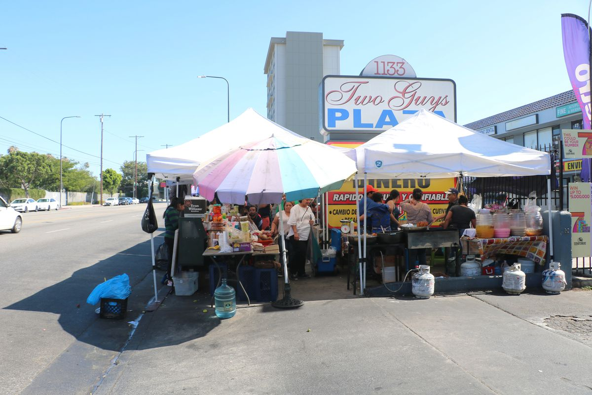 Edge of the Salvadoran street food market at Two Guys Plaza in Koreatown.