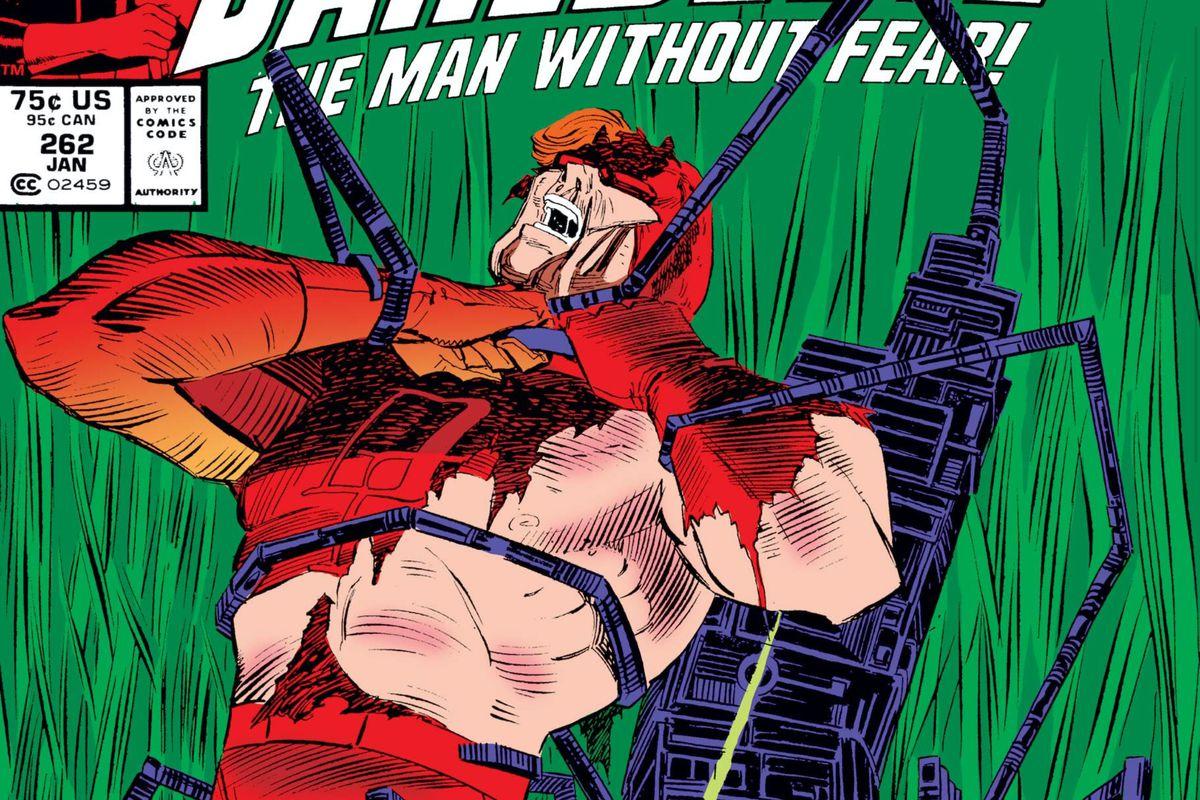Daredevil battles a demon-possessed vacuum cleaner on the cover of Daredevil #262, Marvel Comics (1989).