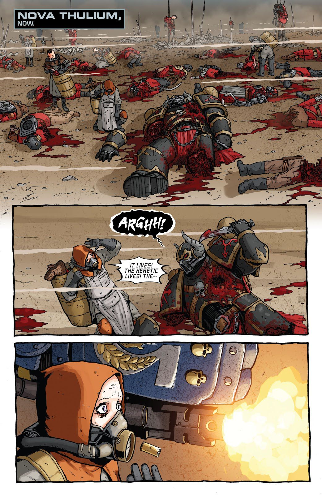 A page showing a field littered with the corpses of Chaos Space Marines