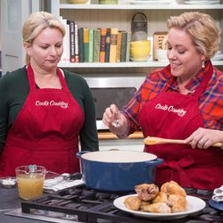 """Bridget Lancaster, left, and Julia Collin Davison make a chicken dish on """"Cook's Country,"""" a show to be featured on KUED's new Create channel."""