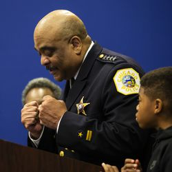 Chicago Police Department Supt. Eddie Johnson gets emotional and pounds on the podium as he announces his retirement during a press conference at CPD headquarters, Thursday morning, Nov. 7, 2019.