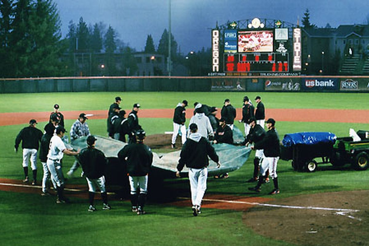 Today's baseball game at Goss Stadium has been rained out.