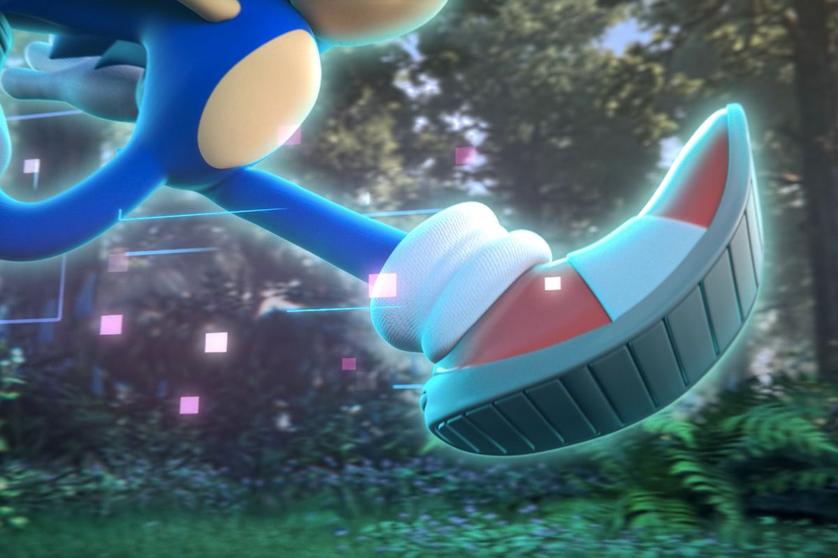 Sonic the Hedgehog runs through the forest with a glowing blue digital effect in a cinematic teaser for Sonic Rangers