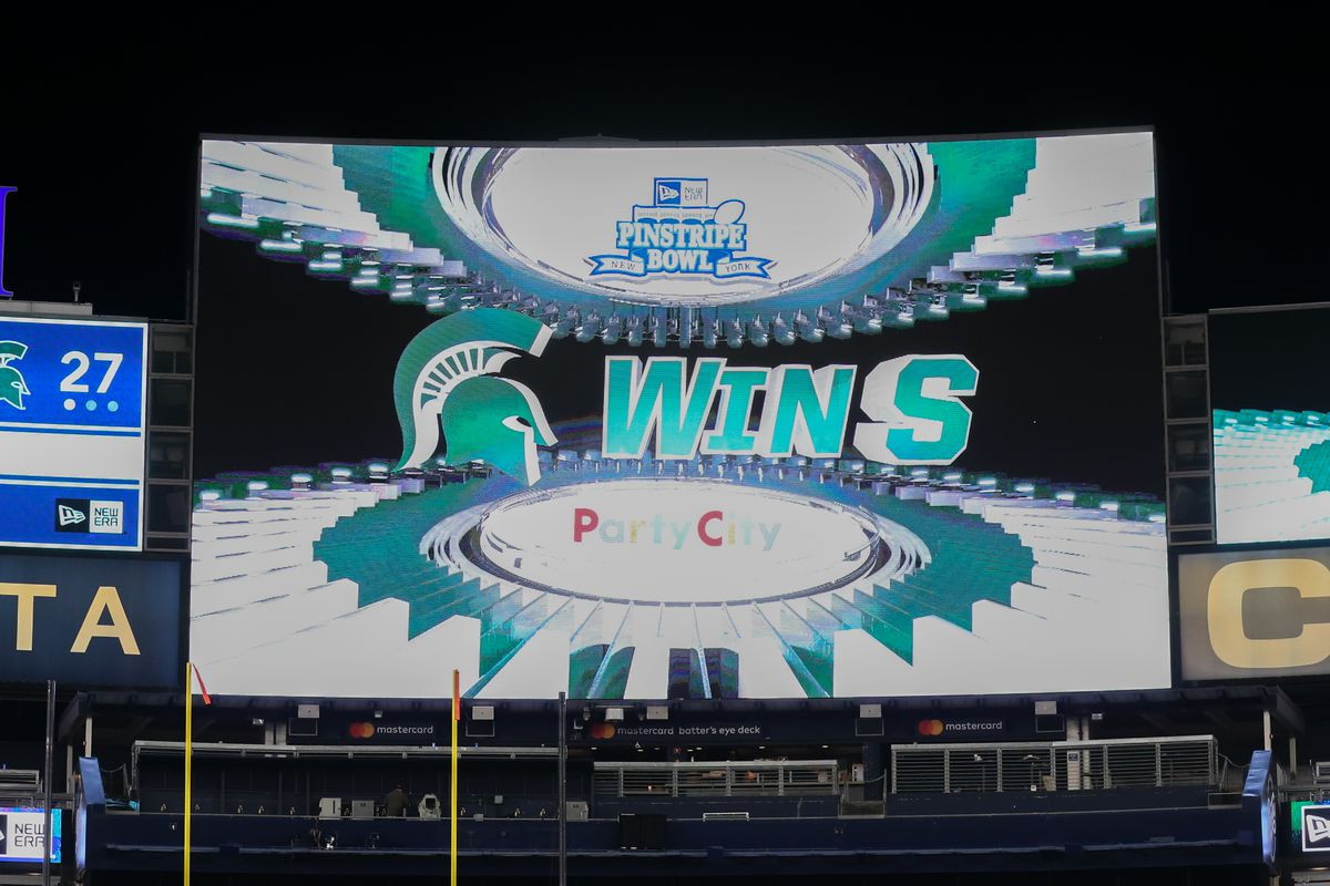 A general view of the video board with Michigan State Spartans win on it after the Pinstripe Bowl between the Michigan State Spartans and the Wake Forest Demon Deacons on December 27, 2019 at Yankee Stadium in the Bronx, NY.