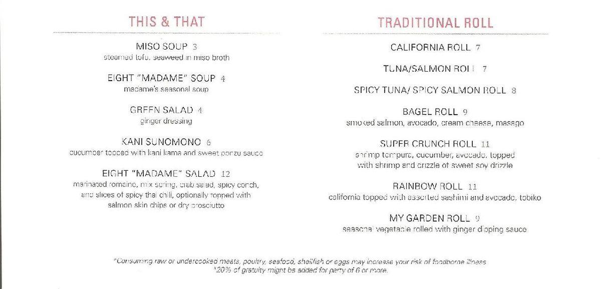 Eight Sushi Lounge menu 5