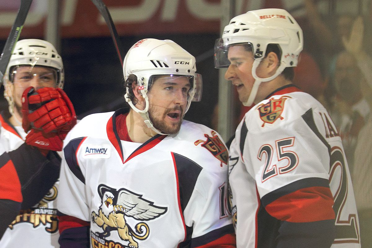 Xavier Ouellet and Dylan Larkin of the Grand Rapids Griffins, 2015 AHL Playoffs