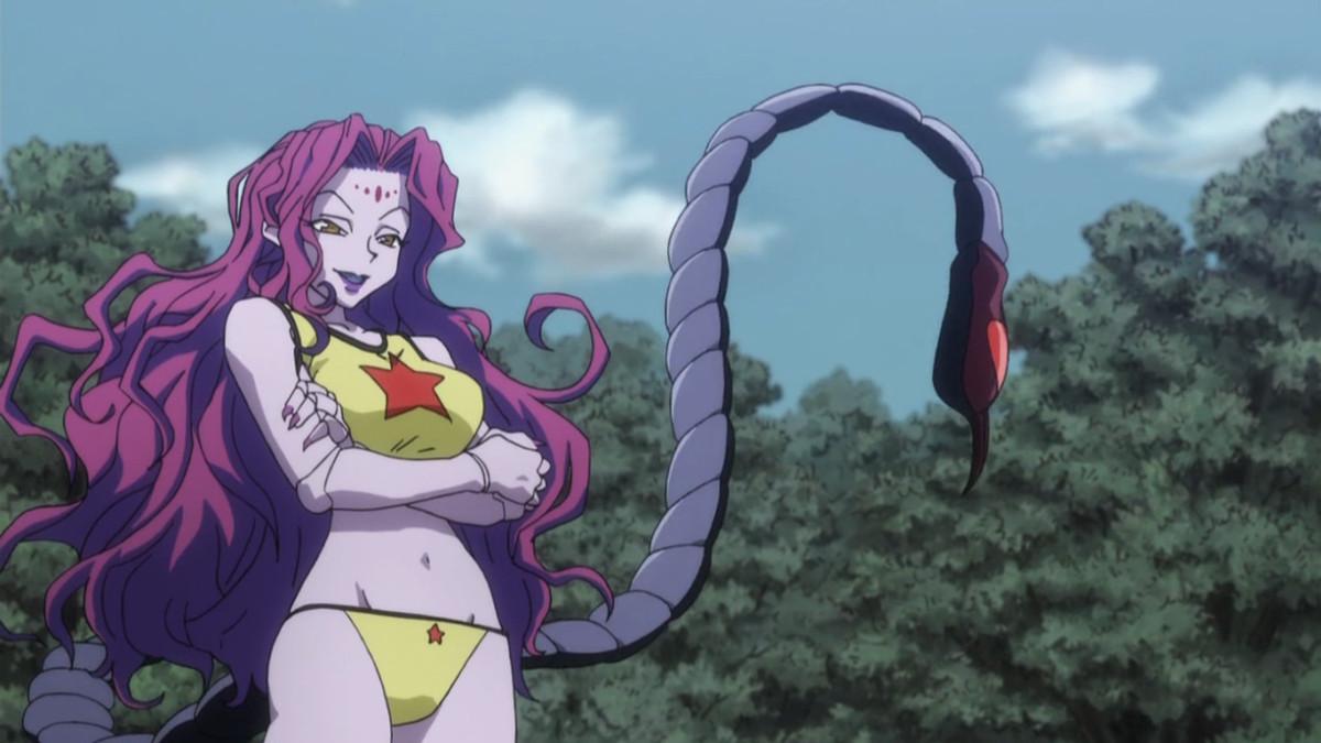 a pink woman wearing a bikini with a scorpion's tail