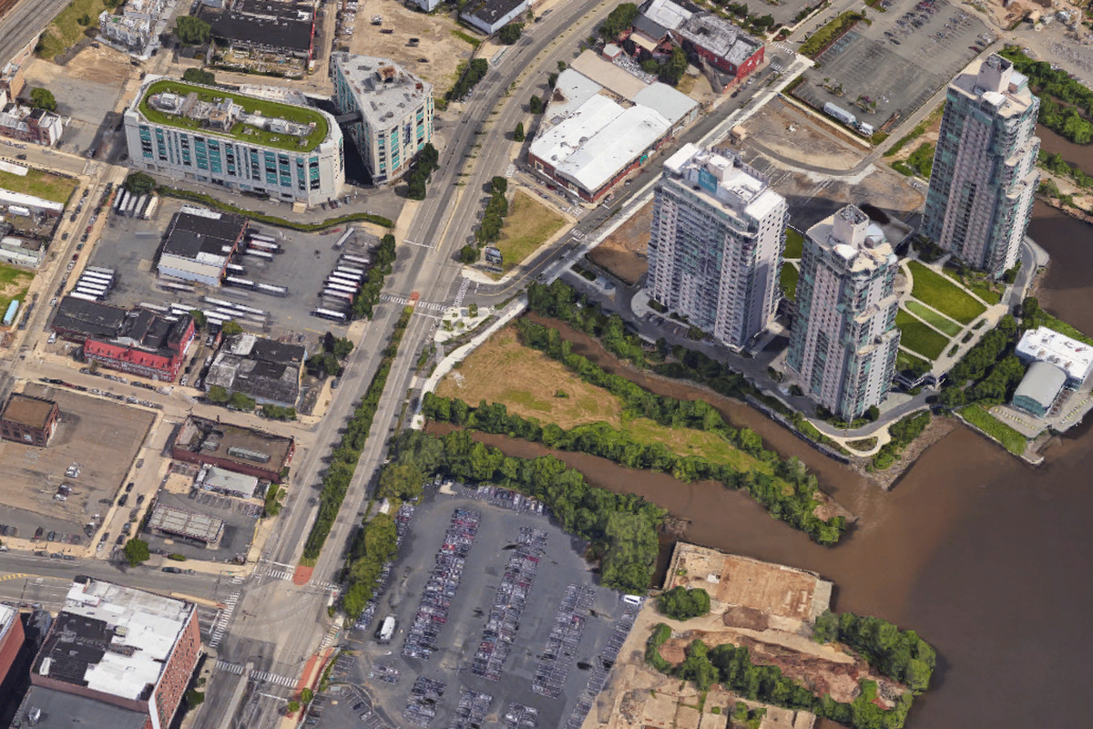 An aerial view of the Delaware River waterfront.