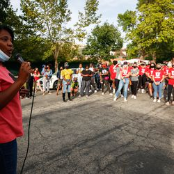 State Rep. Sandra Hollins addresses a crowd at the Say Their Names Memorial in Salt Lake City on Saturday, Sept. 26, 2020.