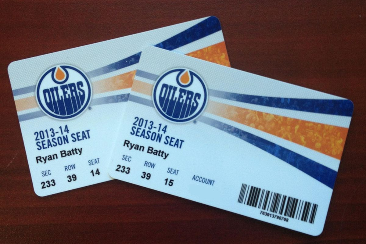 """A look at the Oilers 2013/14 season """"tickets"""""""