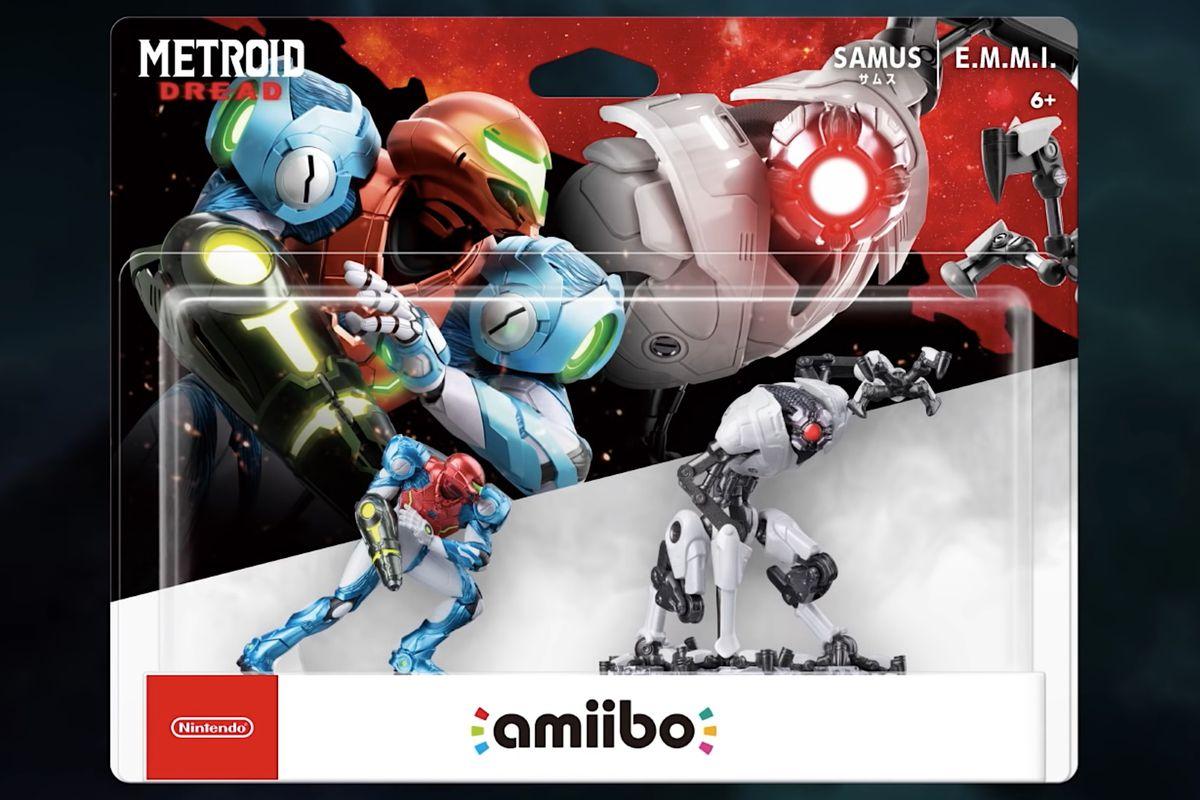 Artwork of the Metroid Dread Samus and EMMI amiibo