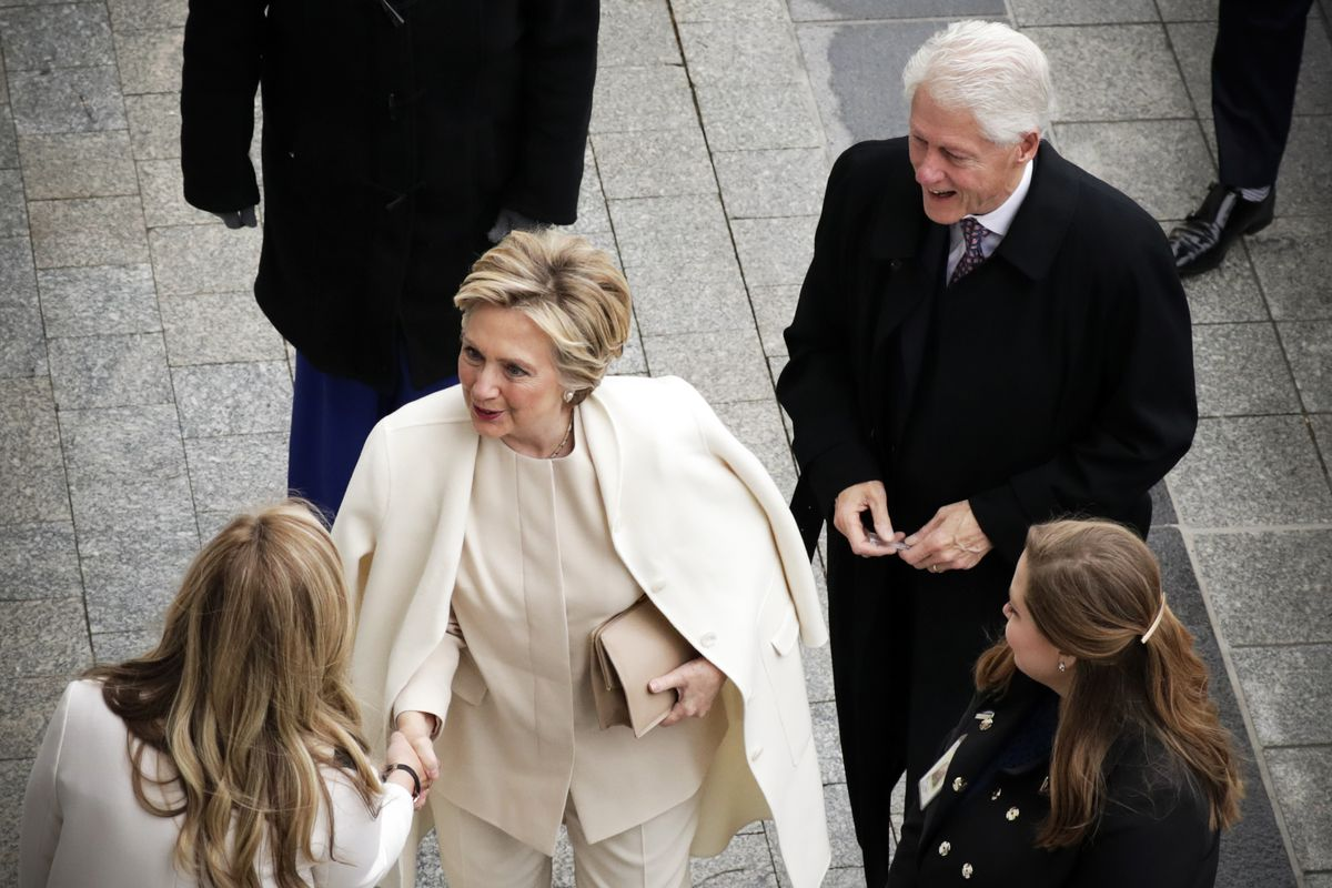 Former President of the United States Bill Clinton and former Secretary of State Hillary Clinton arrive near the east front steps of the Capitol Building before President-elect Donald Trump is sworn in at the 58th Presidential InaugurationJanuary 20, 2017