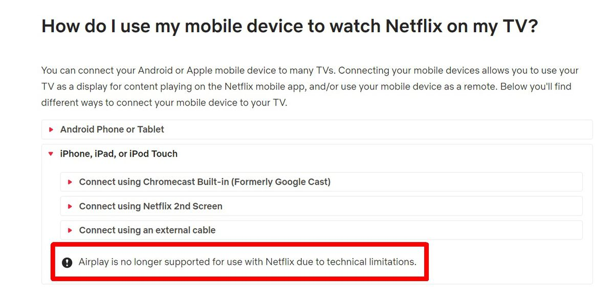 Netflix confirms it killed AirPlay support, won't let you