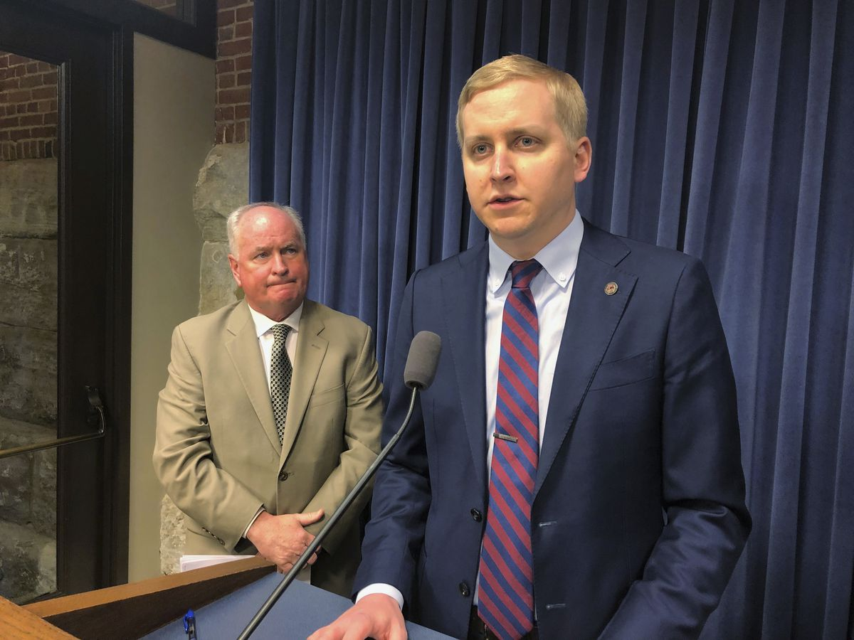 State Rep. Tom Demmer, R-Dixon, at a 2019 news conference.