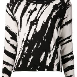 """Abstract striped top in creme and black, $65 (was $355) via <a href=""""https://shop.hlorenzo.com/products/womens/tops/sweaters/wk031_creme_black"""">H Lorenzo</a>"""