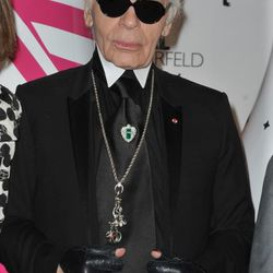 Karl Lagerfeld celebrating his collaboration with Diet Coke at Restaurant Le Georges on April 7, 2011 in Paris, France.