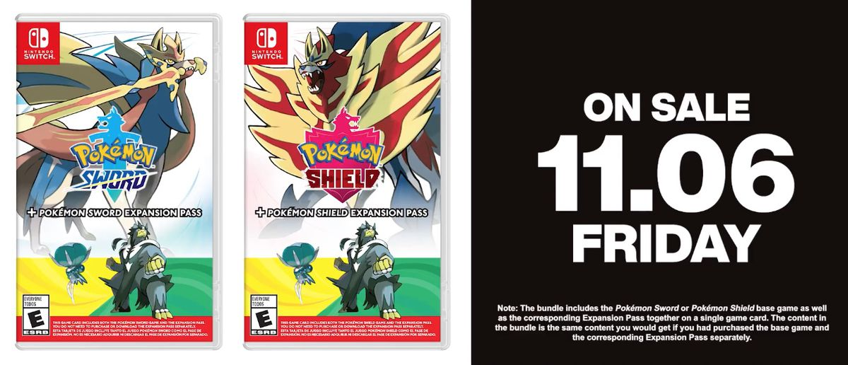 An image of the Pokémon Sword and Shield + expansion pass bundle and the release date, Nov. 6.