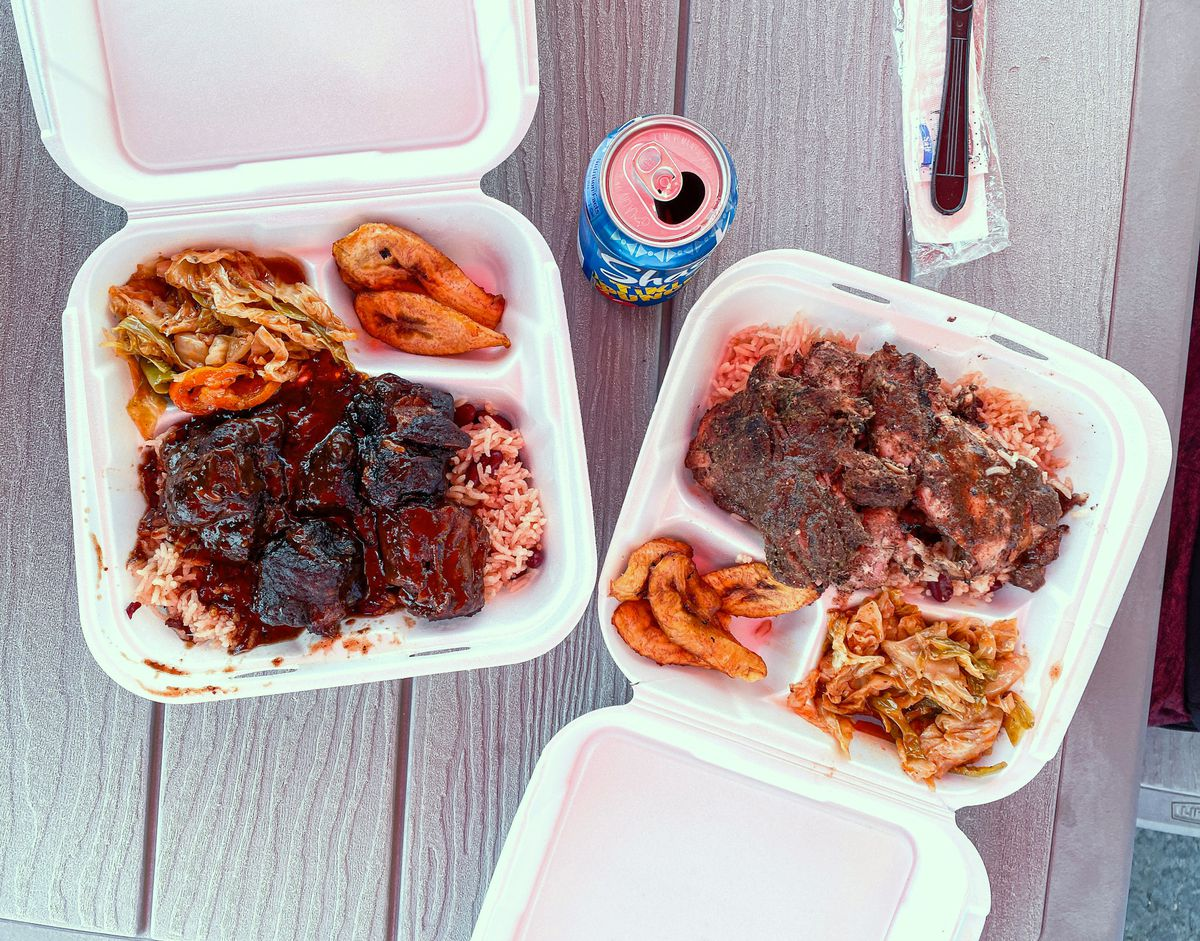 Oxtails and jerk chicken at Barrington's Jamaican Kitchen in Bakersfield.
