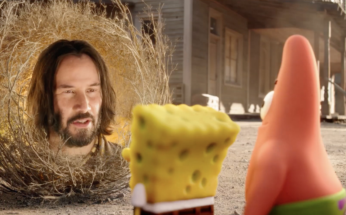 Keanu reeves' disembodied face gives Patrick and SpongeBob some advice in The SpongeBob Movie: Sponge on the Run