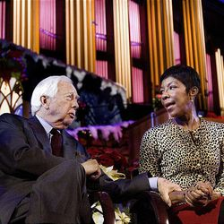 Author David McCullough and singer, songwriter, and performer Natalie Cole speak to the media about the annual Christmas Concert at the Conference Center in Salt Lake Friday.