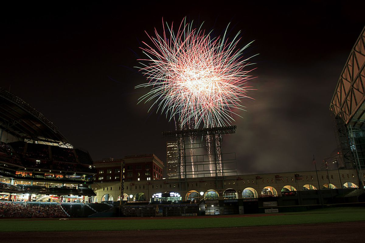 HOUSTON - JUNE 22:  Friday night fireworks light up the Houston sky after the Cleveland Indians defeated the Houston Astros 2-0 at Minute Maid Park on June 22, 2012 in Houston, Texas.  (Photo by Bob Levey/Getty Images)