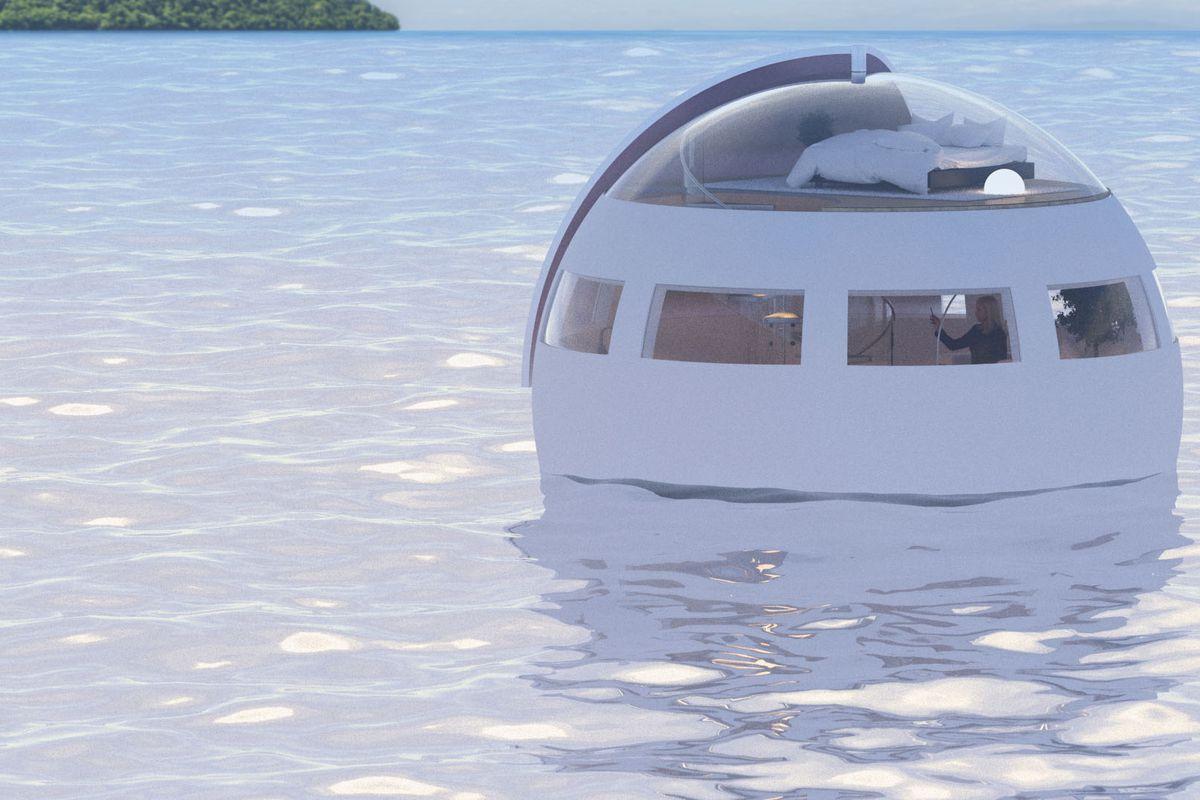 rendering of floating capsule hotel