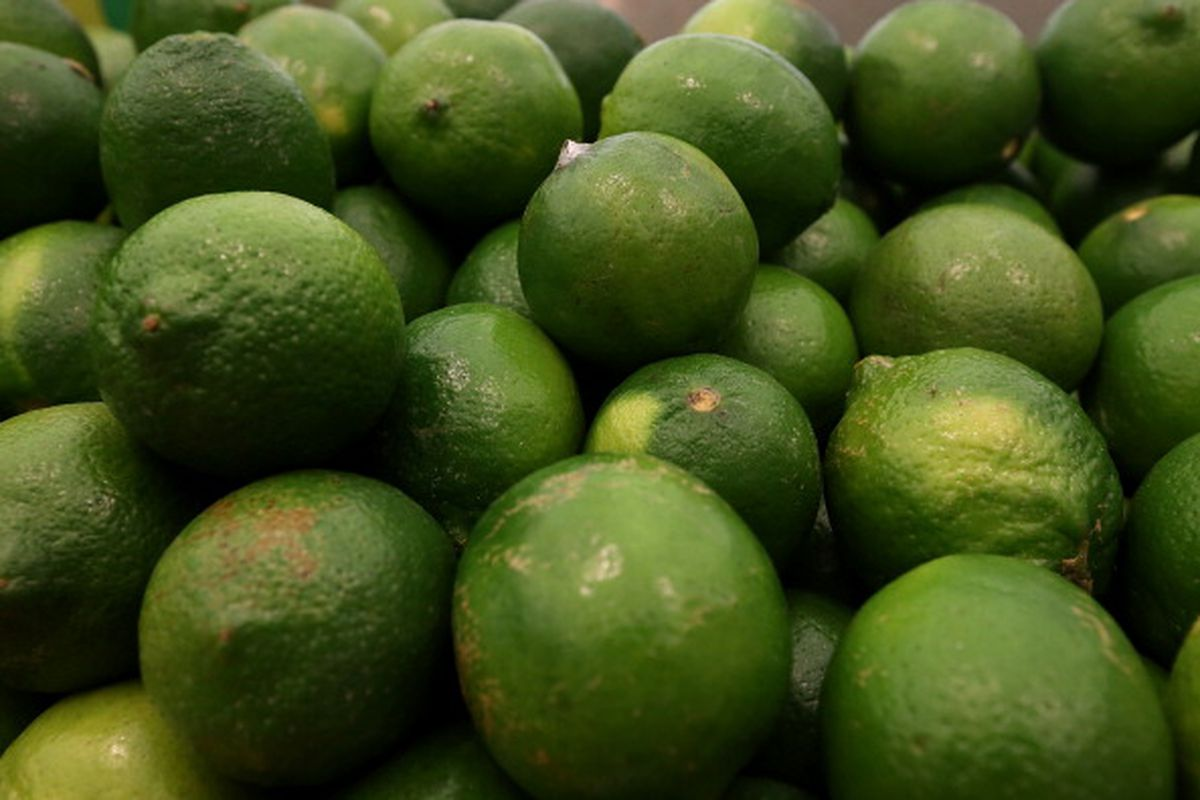 Limes are displayed at Cal-Mart Grocery on March 27, 2014 in San Francisco, California.