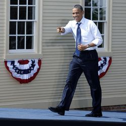 President Barack Obama arrives at a campaign event at Strawbery Banke Museum in Portsmouth, N.H., Friday, Sept. 7, 2012.
