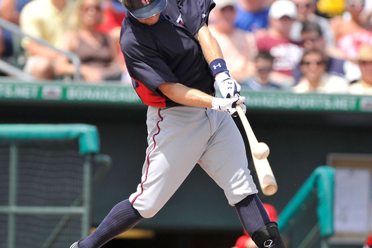 March 25, 2012; Jupiter, FL, USA;  Minnesota Twins shortstop Brian Dozier (77) at bat during a spring training game  against the St. Louis Cardinals at Roger Dean Stadium. Mandatory Credit: Brad Barr-US PRESSWIRE