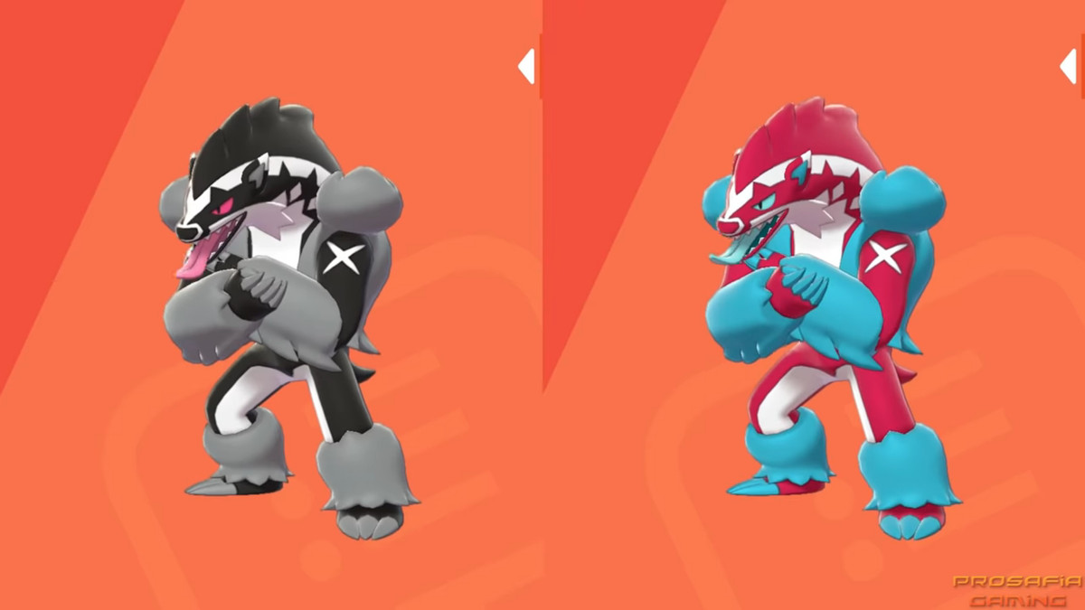 A black and white regular Obstagoon compared with a pink and blue Shiny Obstagoon