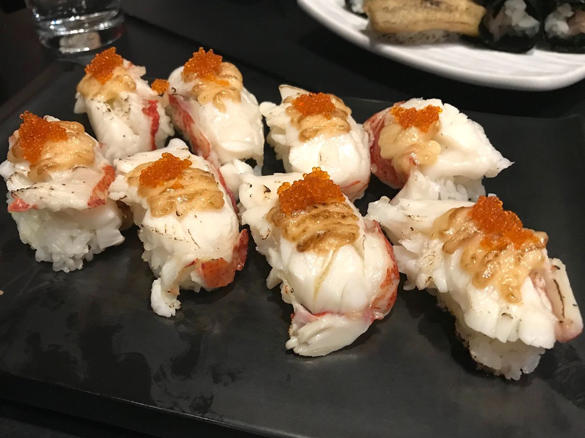 Lobster nigiri topped with roe