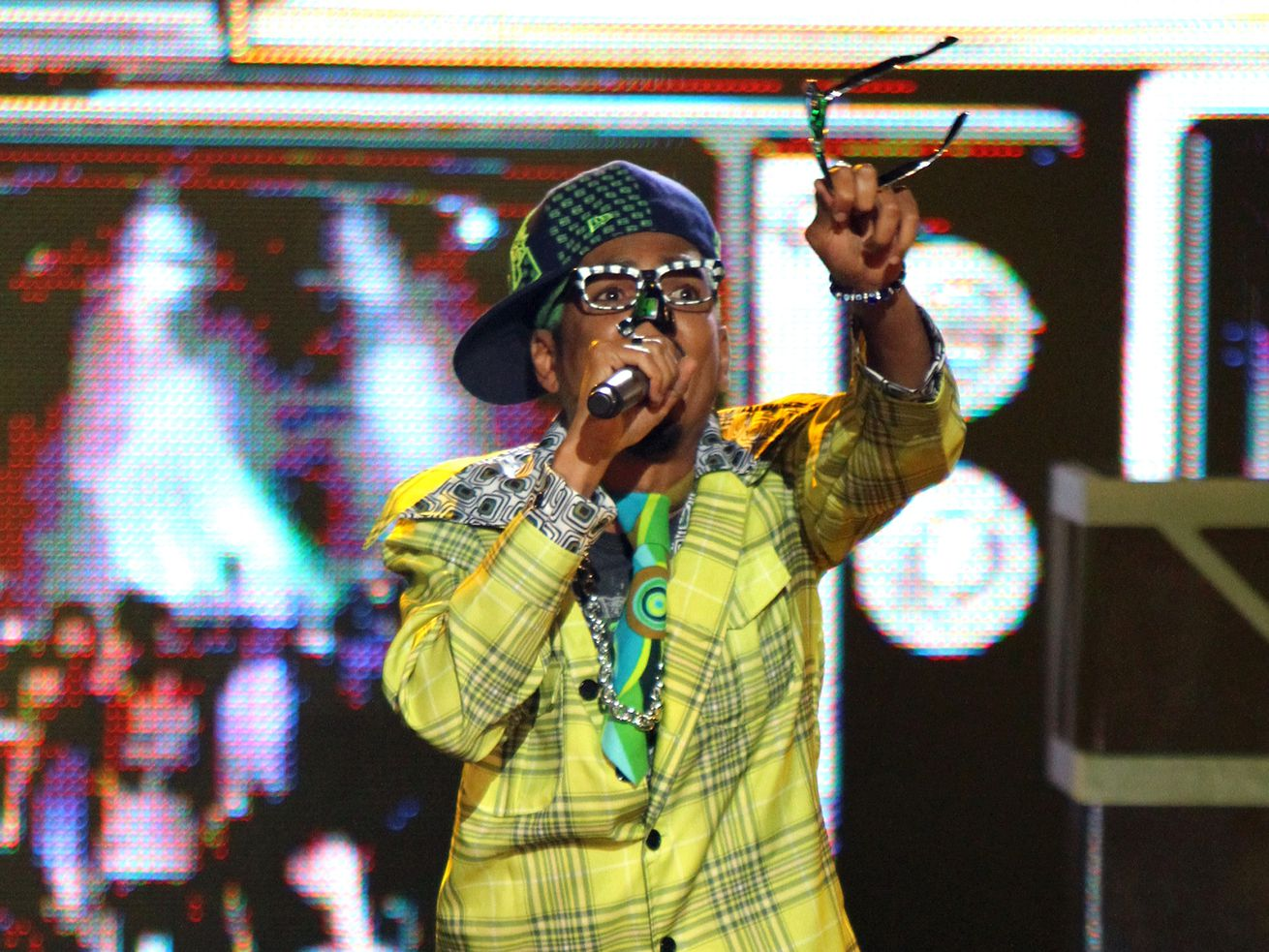 Shock G of Digital Underground performs during the BET Hip Hop Awards '10 in 2010 in Atlanta, Georgia.
