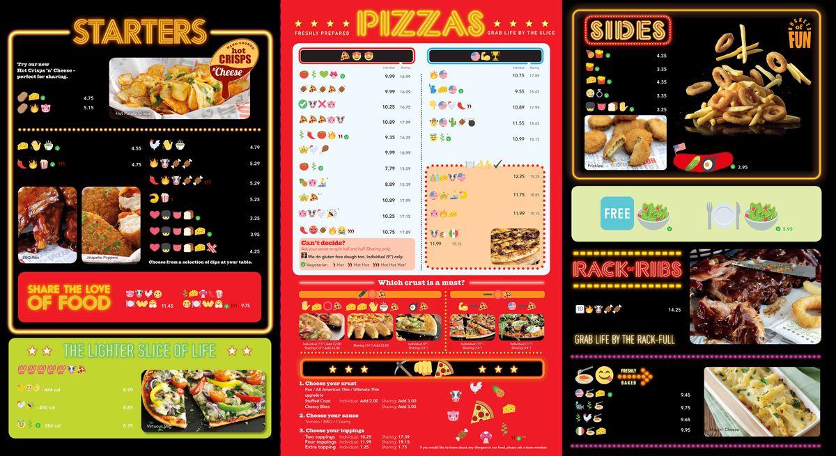 pizza hut emoji menu
