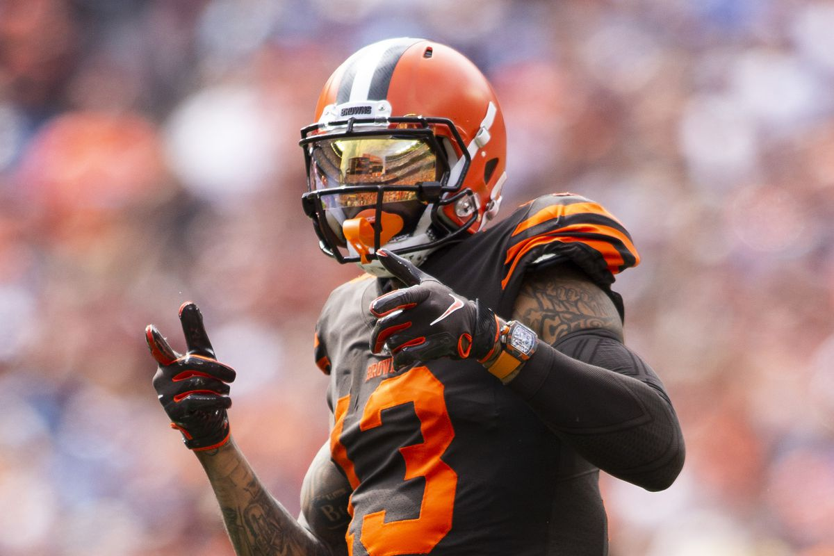 Browns wide receiver Odell Beckham gestures following a reception against the Tennessee Titans at FirstEnergy Stadium.