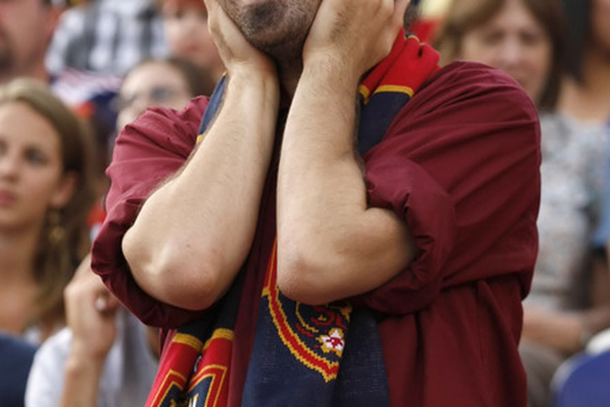 SANDY, UT - JULY 9: A fan of Real Salt Lake reacts during a game against FC Dallas during the first half of an MLS soccer game July 9, 2011 at Rio Tinto Stadium in Sandy, Utah. Real Salt Lake beat FC Dallas 2-0. (Photo by George Frey/Getty Images)