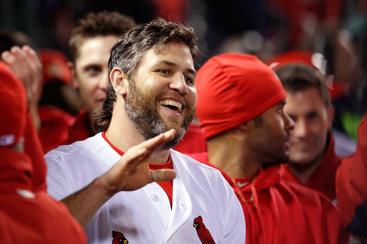 ST LOUIS, MO - OCTOBER 28:  Lance Berkman #12 of the St. Louis Cardinals is positively radiant after defeating the Texas Rangers 6-2 to win Game Seven of the MLB World Series.  (Photo by Jamie Squire/Getty Images)