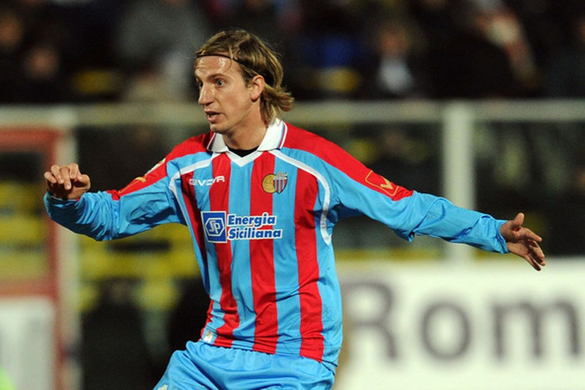 CESENA ITALY - FEBRUARY 02:  Maxi Lopez of Catania in action during the Serie A match between AC Cesena and Catania Calcio at Dino Manuzzi Stadium on February 2 2011 in Cesena Italy.  (Photo by Giuseppe Bellini/Getty Images)