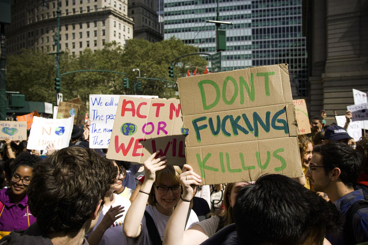 "Global Climate Strike protesters in New York City hold up signs. One reads, ""Don't fucking kill us."""