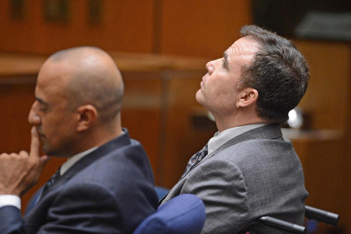 Defendant David Viens, right, listens as a second degree murder verdict was read in Los Angeles Thurwday Sept. 27, 2012.   His attorney Fred McCurry is at left. Viens, a chef, told police he boiled his wife's body for four days to hide evidence of her dea