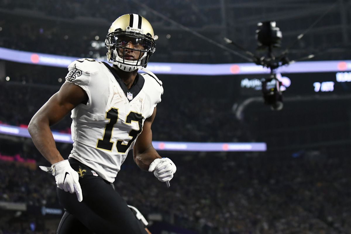 MINNEAPOLIS, MN:  New Orleans Saints wide receiver Michael Thomas (13) takes the field during warmups before an NFL Division Round playoff game against the Minnesota Vikings at U.S. Bank Stadium.