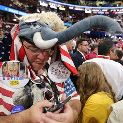 Mike Lachs checks his mesaages during the final night of the National Republican Convention in Cleveland on Thursday, July 21, 2016.
