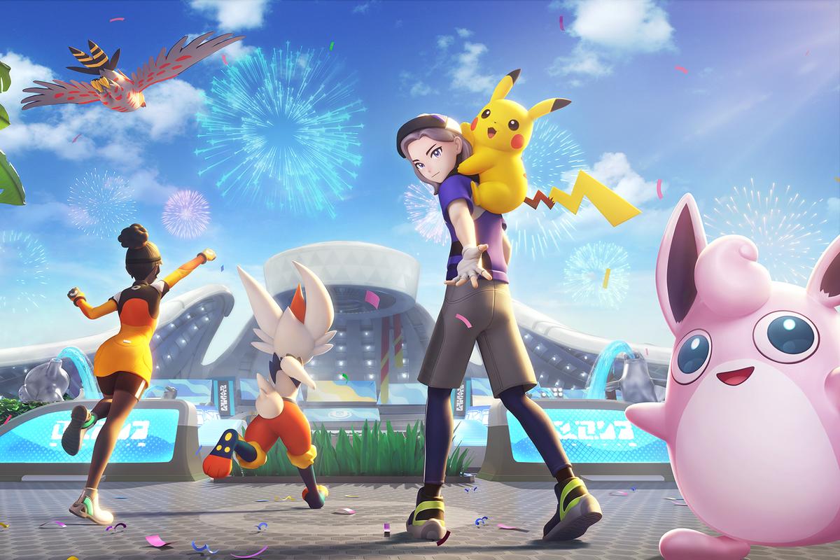 trainers walking towards a stadium in Pokemon unite