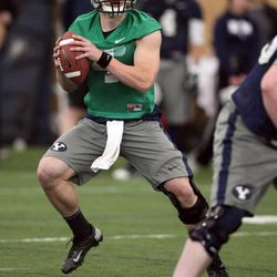 Taysom Hill practices with the BYU football team during spring practice at BYU in Provo on Friday, March 22, 2013.