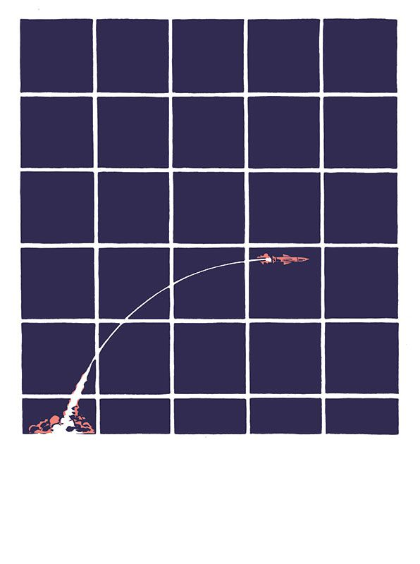 A rocket is fired in a curved polabora across a grid of square panels, in Hedra, Image Comics (2020).