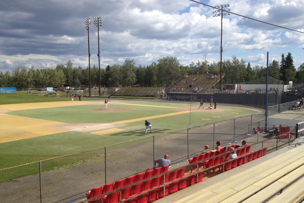 Fairbanks, AK - The Alaska Goldpanners host the Mat-Su Miners at Growden Park. Photo credit: Henry Cole.