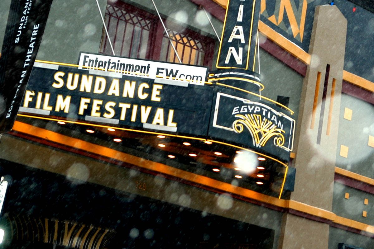 """The Egyptian Theater marquee reads """"Sundance Film Festival"""" in Park City, Utah."""