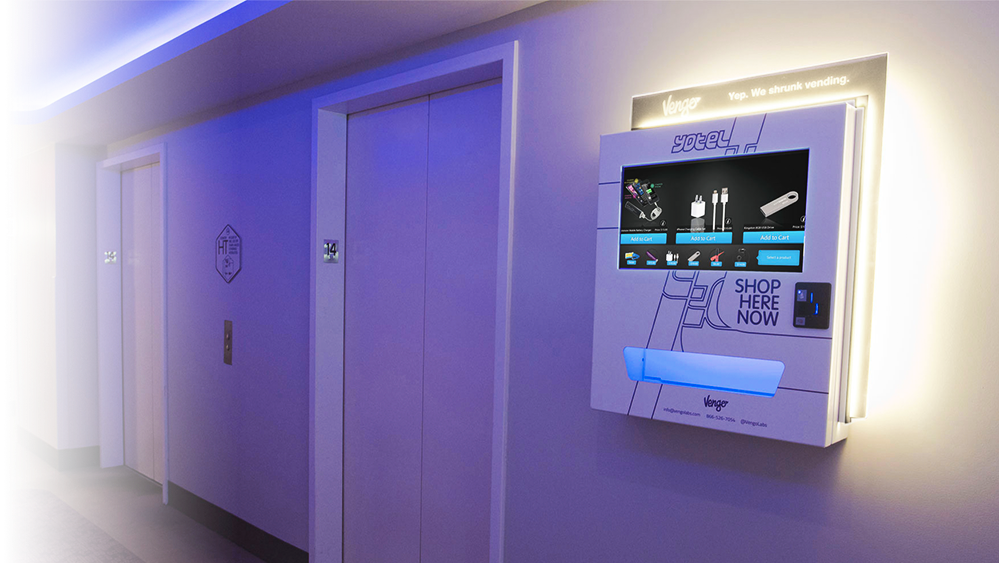 The wall fixtures are customizable, selling everything from chargers to deodorant (Vengo)
